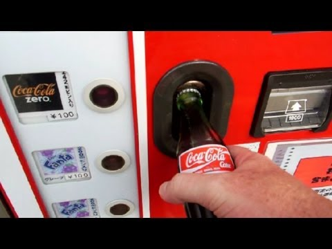 Real Glass Coke Bottle Vending Machine in Japan!!