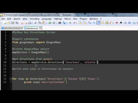 Learn Python Programming Tutorial 24 | Getting Directions Google Maps API pt1