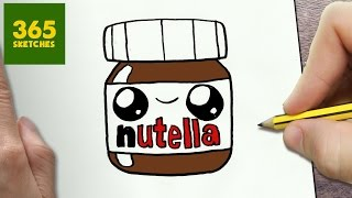 HOW TO DRAW A NUTELLA CUTE, Easy step by step drawing lessons for kids