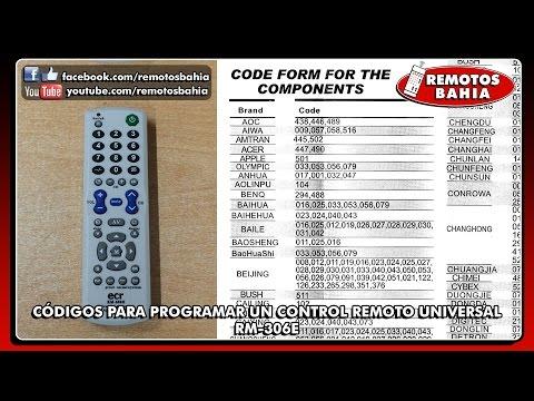 MANUAL Y CÓDIGOS PARA PROGRAMAR CONFIGURAR UN CONTROL REMOTO UNIVERSAL RM-306E SEISA CHUNGHOP SONAKI