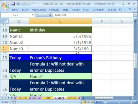 Excel Magic Trick # 282: Lookup Name When Today Is Birthday