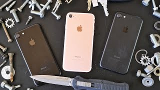 iPhone 7 Scratch Test! Knife vs Jet Black, Matte Black & Rose Gold