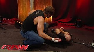 Dean Ambrose accidentally floors a cameraman during a backstage brawl: Raw, May 25, 2015