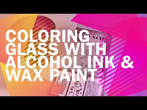 Coloring glass with alcohol ink and wax paint