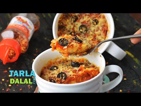 Mug Pizza Recipe, Quick Microwave Veg Mug Pizza by Tarla Dalal