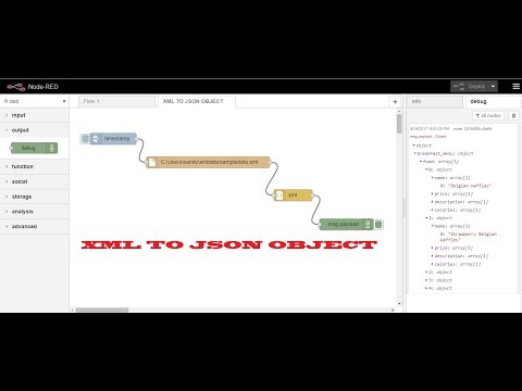 Converting XML Data to JSON Object using NODE RED