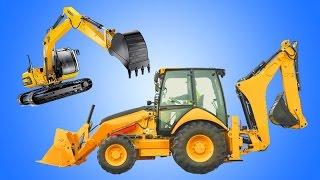 Backhoe Excavator | Kids Show Construction Vehicles on Job Site | Animation Cartoon
