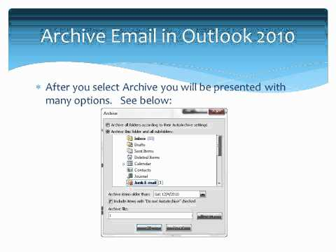 How to Archive your email in Outlook 2010.wmv