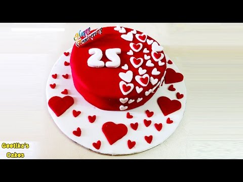 ❤ Anniversary Cake Recipe With Fondant | Upside Down Method of Baking in Hindi