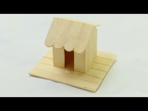How to make ice cream stick mini house - Simple popsicle stick house
