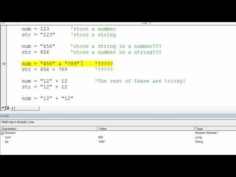 Strings vs. Numbers in VBA