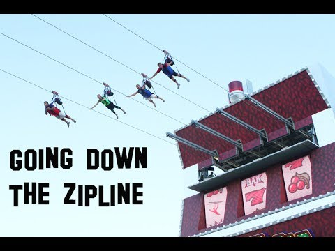 Going down SlotZilla Zoomline on Fremont Street, Las Vegas 114 feet zipline