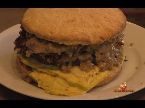 Big Biscuit Breakfast Burger Recipe  - Eggs Biscuits and Gravy