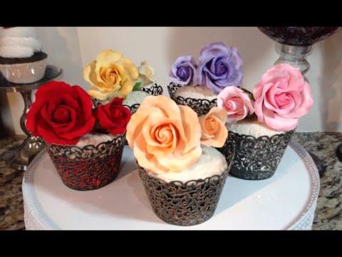 Gumpaste Roses & Fondant Covered Cupcakes For Weddings
