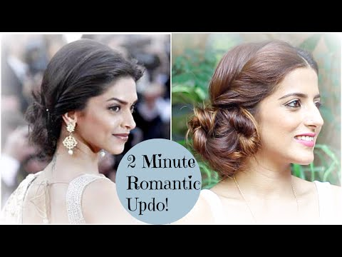 2 Minute ROMANTIC Bun Hairstyle - Deepika Padukone | EASY Updo Hairstyles | Indian Hairstyles