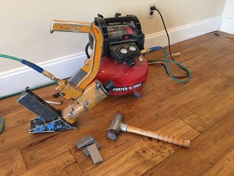 Hardwood Flooring installation with Stapler gun