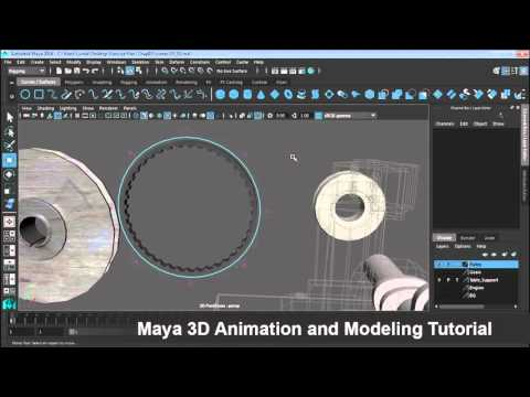 Maya 3D Animation and Modeling Part014 Create a belt drive with wire deformers