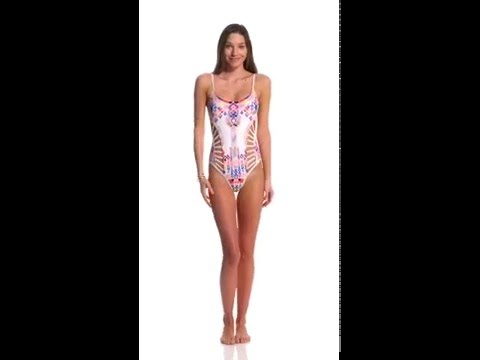 Red Carter Dream Catcher Cut Out Strappy One Piece Swimsuit | SwimOutlet.com