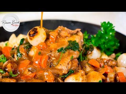 Julia Child's Coq Au Vin - Chicken in Red Wine - Chicken Stew Recipe