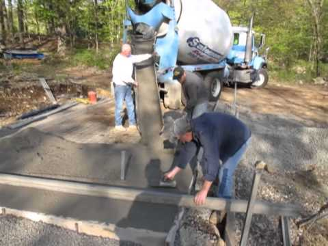 Pouring the concrete pad for 10' x 20' shed