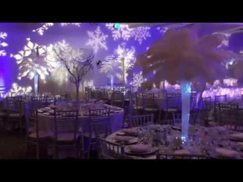 Winterwonderland Themed wedding with feather Centerpieces