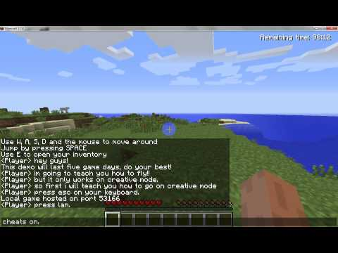 How to fly and be on creative mode minecraft demo