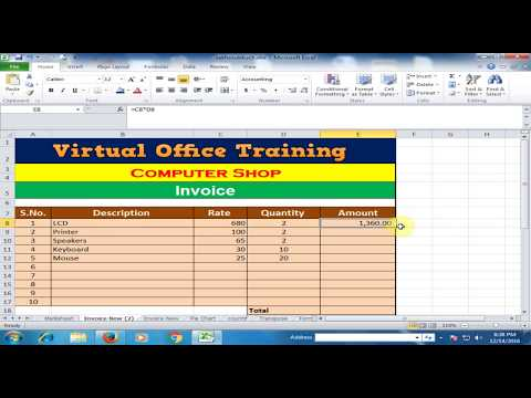 Create Invoice and Calculate Total Amount, Discount, General Sales Tax and Net Amount in Excel