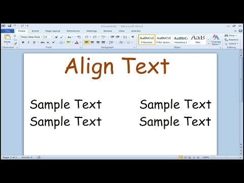 How to align text on left and right side in Microsoft Word