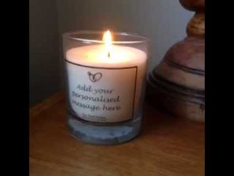 Personalised glass candle add your personalised message