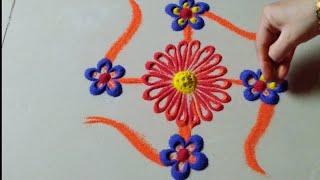 "आकर्षक आणि सुंदर ""स्वस्तिक"" डिझाईन by Jyoti Raut Rangoli"