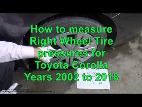 How to measure Wheel Tire Pressure for Toyota Corolla years 2002 to 2018