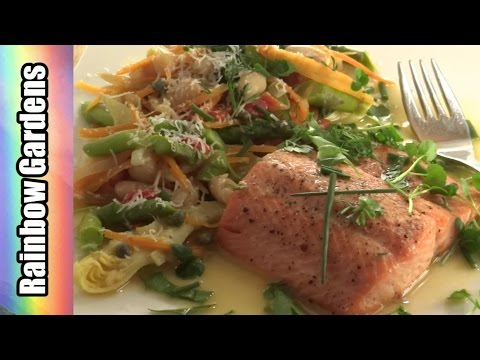 Salmon /Trout w/ Cannellini Beans and Spring Garden Vegetables - Fine Fast Food :)