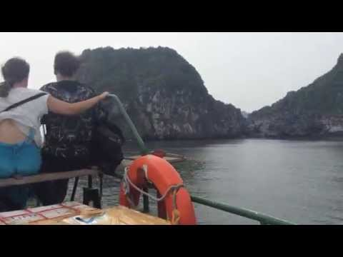 Hydrofoil ride from Cat Ba island to Haiphong in Halong bay, Vietnam