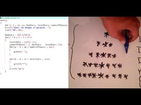 Algorithm : Draw Pyramid of stars(*) - with  c language code