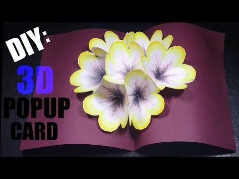 DIY: 3D POP UP Card   Paper Flowers