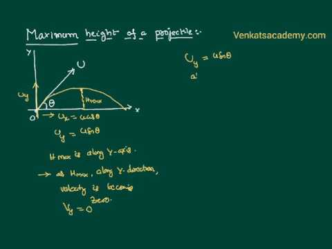 Maximum height of a projectile : Motion in a Plane