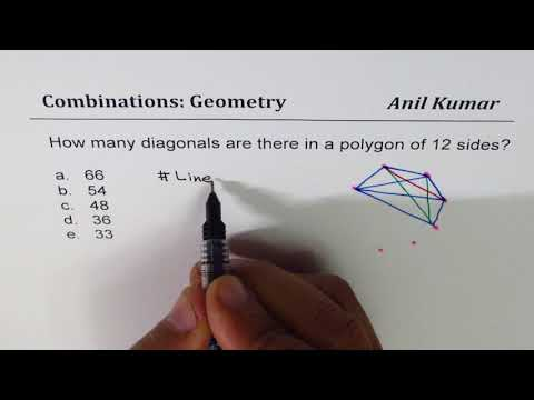 Combination to find number of diagonals in 12 side polygon