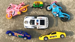 Finding different types of toy vehicles on the roof of the house || Looking for Police Car Vehicles