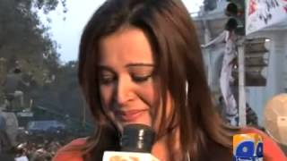 Default TitlePTI workers attack Geo News van,Abuse Anchorperson Sana Mirza-Geo Reports-15 Dec 2014