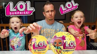 Download Opening LOL Surprise Confetti Pops and Sisters Dolls with Our Dad!!! Video