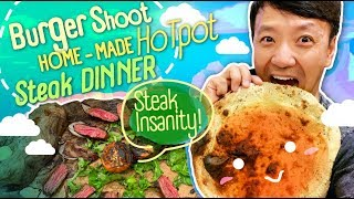 HOMEMADE HOTPOT & Monster STEAK DINNER! Trying to Send Parents on Vacation