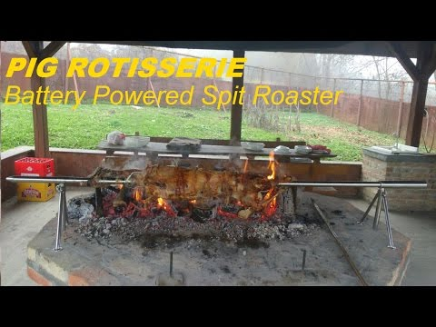 PIG, HOG Rotisserie on Portable Battery Powered Spit Roaster