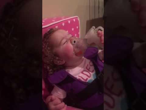 Baby Sam CF breathing treatment