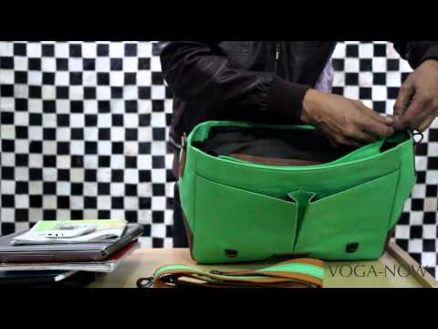 BRUNE CANVAS /LEATHER MESSENGER BAG