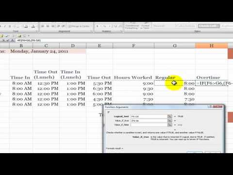 How to Calculate Overtime Hours on a Time Card in Excel