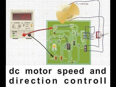 DC Motor speed and direction control Circuit using IC 555  PWM