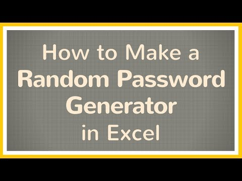 How to Make a Password with Random Letters and Numbers in Excel - Tutorial