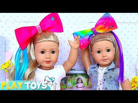 Baby Doll Hair Cut Shop & Make up Toys! Shimmer Shine DYI Hairstyle Make up for American Girl dolls!