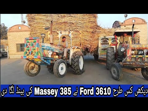 Real Tractors Driver Fight Ford 3610 & Massey 375 in Madina Sugar Mill with Sugarcane Trolley