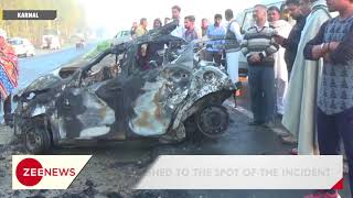 Karnal accident: Four killed as car catches fire after colliding with truck